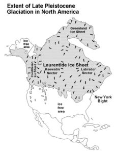 map showing extent of Late Pleistocene glaciation over North America