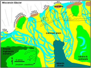 map of maximum advance of Late Wisconsin Glacier in New York region about 20,000 years ago