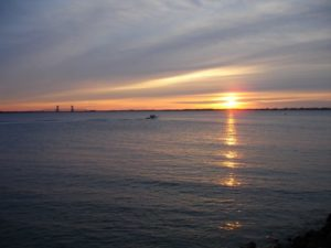 Photo of Jamaica Bay viewed from Manhattan Beach at sunrise.