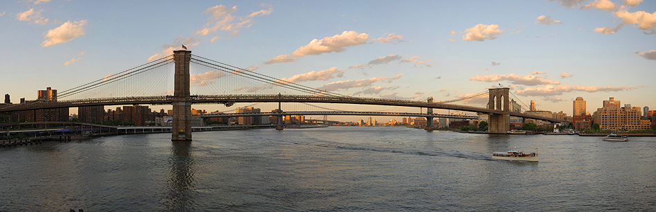 photo of Brooklyn Bridge and Manhattan Bridge, New York Harbor
