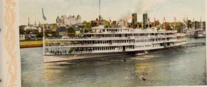postcard of Hudson River steamers