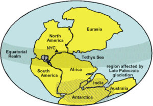 map of supercontinent Pangaea