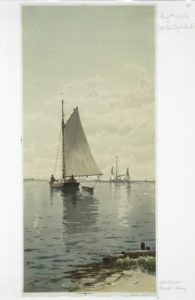 "painting by Alfred Thomas Bricher, ""Blue Point Oyster Boats,"" 1891"